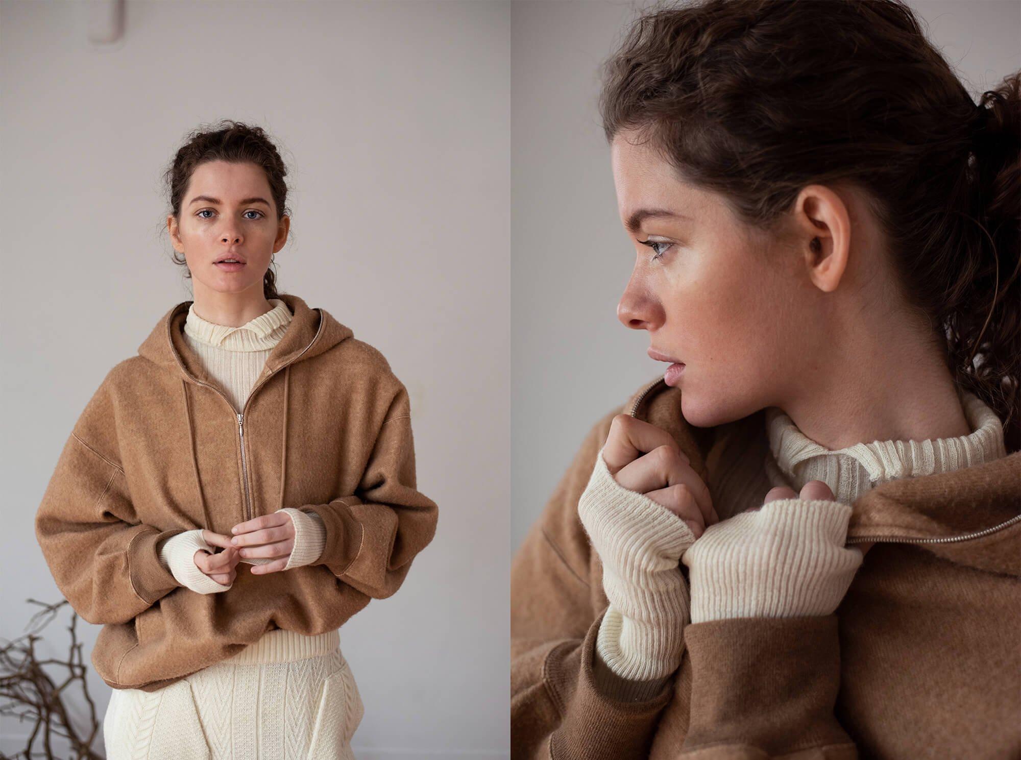 brushed camel-terry half zip hoodie