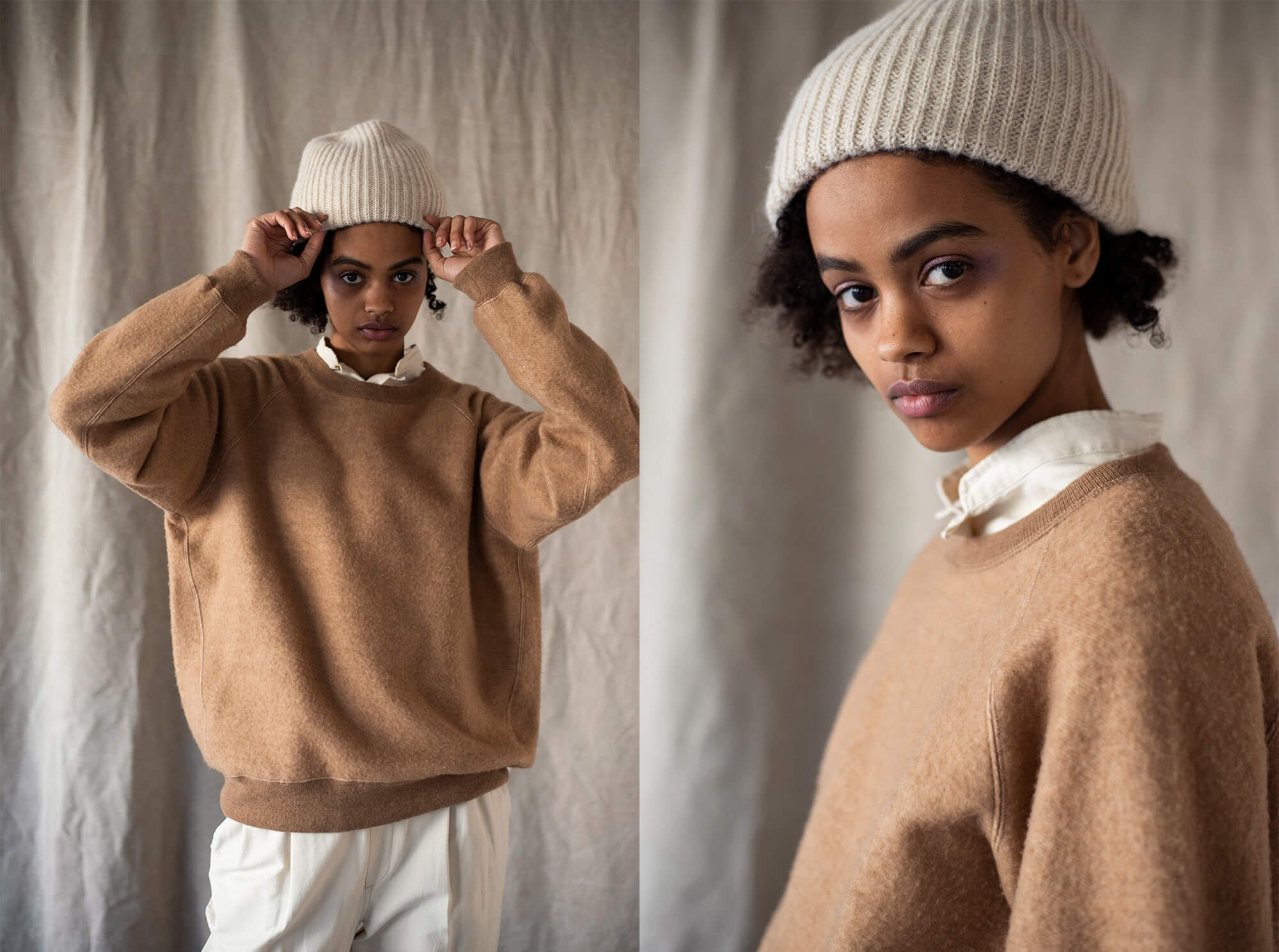 brushed camel-terry sweatshirt