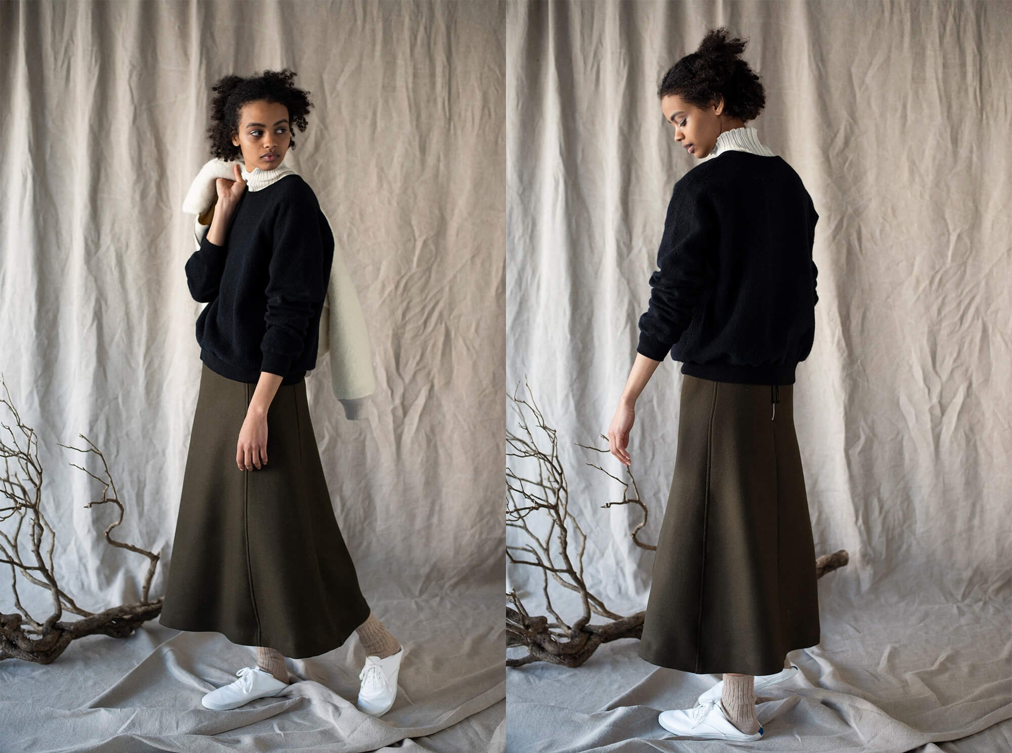 corriedale double twill flared skirt