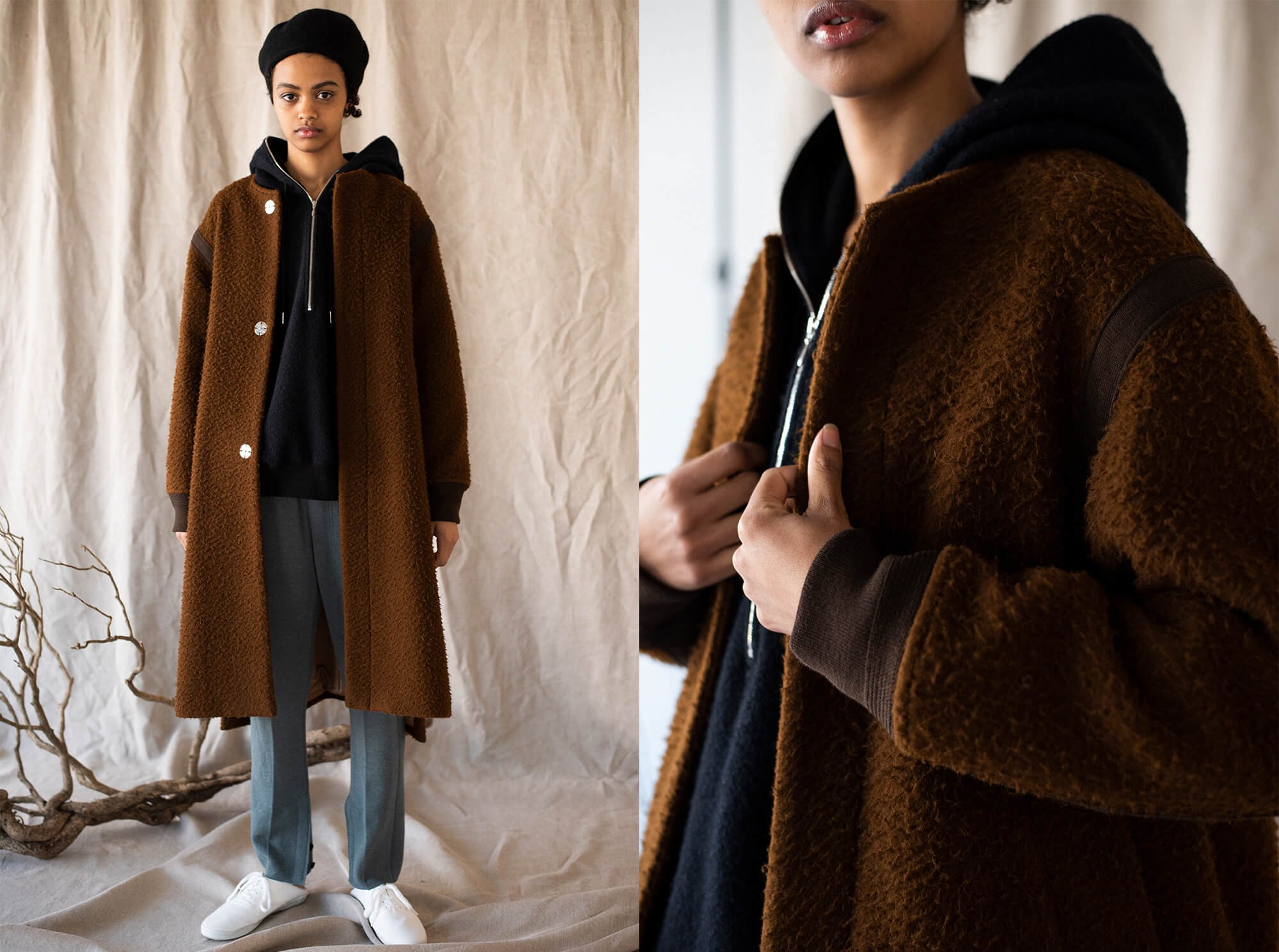 napped camel-melton collarless coat