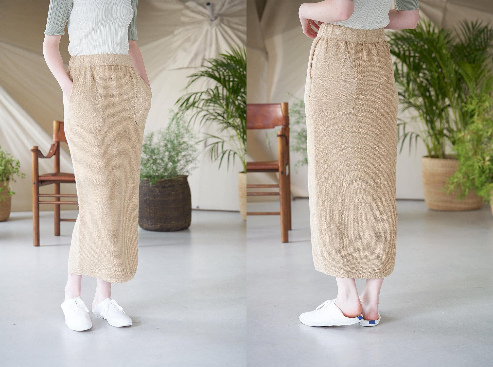 <img class='new_mark_img1' src='https://img.shop-pro.jp/img/new/icons14.gif' style='border:none;display:inline;margin:0px;padding:0px;width:auto;' />mulberry & raw silk knit skirt