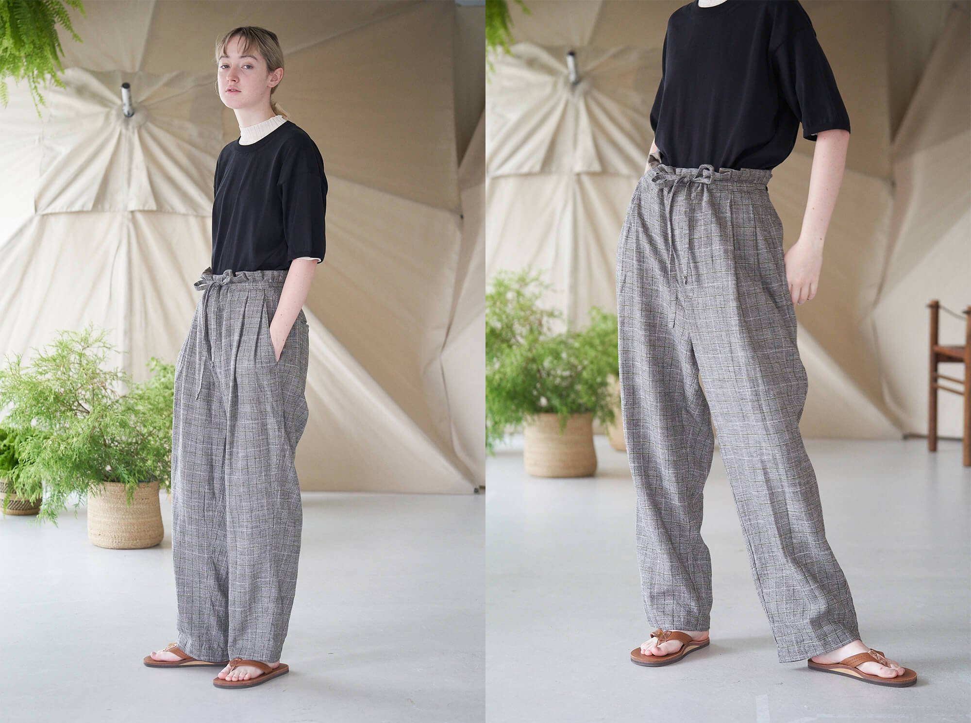 <img class='new_mark_img1' src='https://img.shop-pro.jp/img/new/icons14.gif' style='border:none;display:inline;margin:0px;padding:0px;width:auto;' />glen checked-tweed wide leg trousers