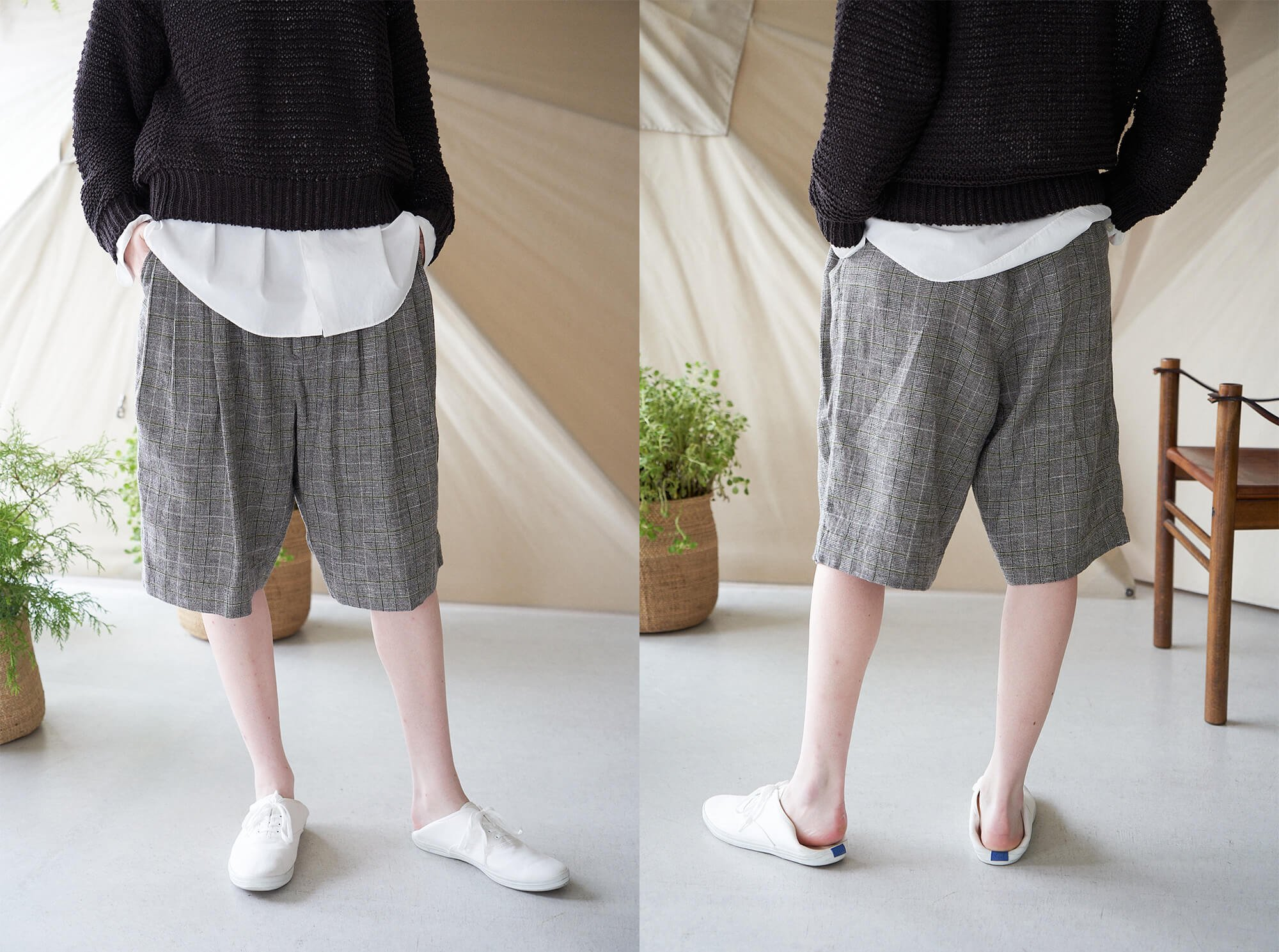 <img class='new_mark_img1' src='https://img.shop-pro.jp/img/new/icons14.gif' style='border:none;display:inline;margin:0px;padding:0px;width:auto;' />glen checked-tweed 4 tuck shorts