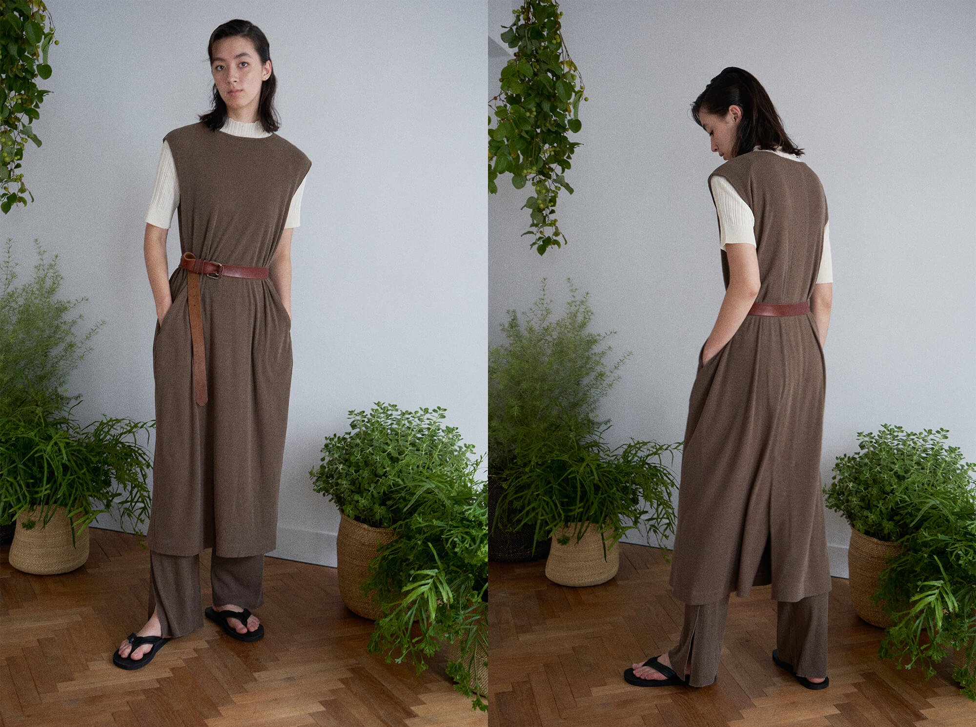 <img class='new_mark_img1' src='https://img.shop-pro.jp/img/new/icons14.gif' style='border:none;display:inline;margin:0px;padding:0px;width:auto;' />raw silk ribbed-jersey sleeveless dress