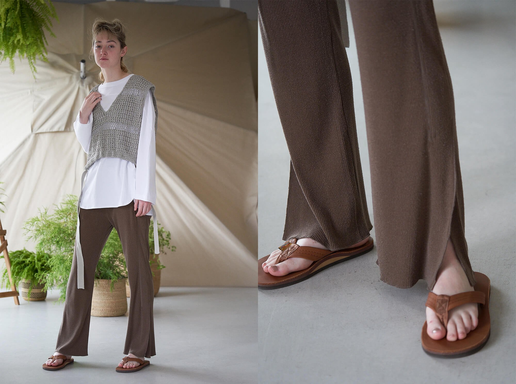 <img class='new_mark_img1' src='https://img.shop-pro.jp/img/new/icons14.gif' style='border:none;display:inline;margin:0px;padding:0px;width:auto;' />raw silk ribbed-jersey pants