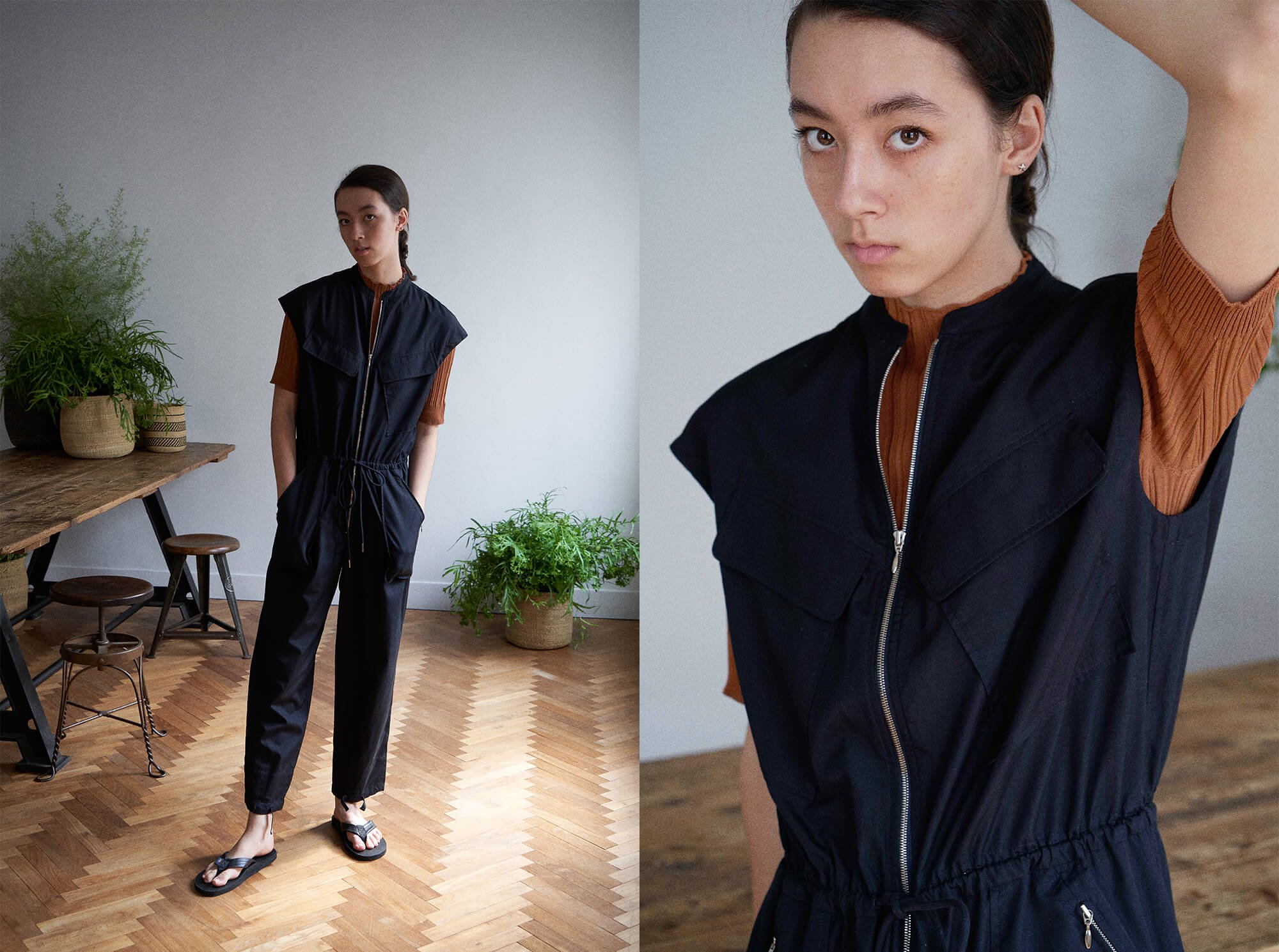 <img class='new_mark_img1' src='https://img.shop-pro.jp/img/new/icons14.gif' style='border:none;display:inline;margin:0px;padding:0px;width:auto;' />washed cotton-poplin zip front jumpsuit