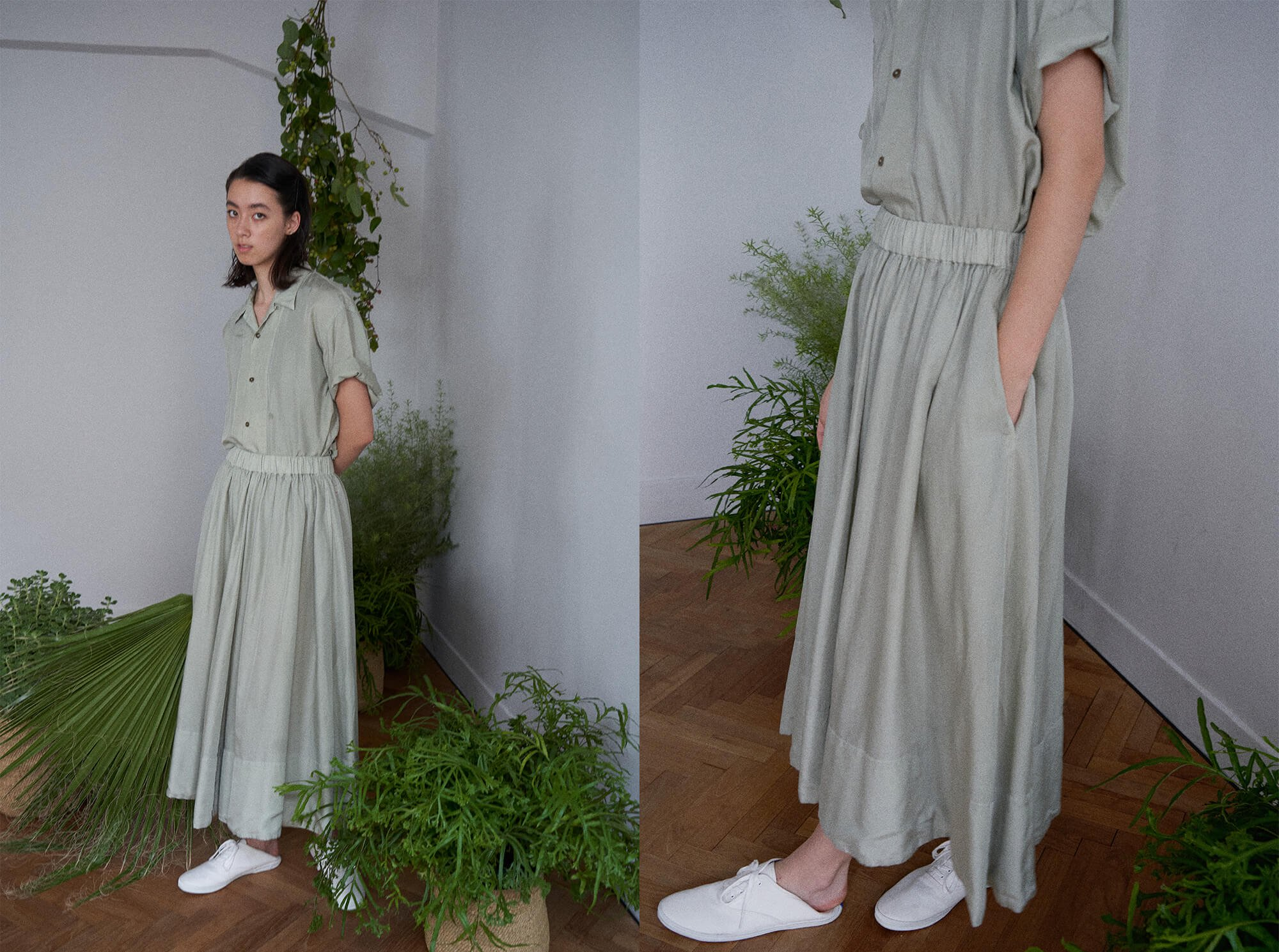 <img class='new_mark_img1' src='https://img.shop-pro.jp/img/new/icons14.gif' style='border:none;display:inline;margin:0px;padding:0px;width:auto;' />cotton & silk-twill gathered skirt