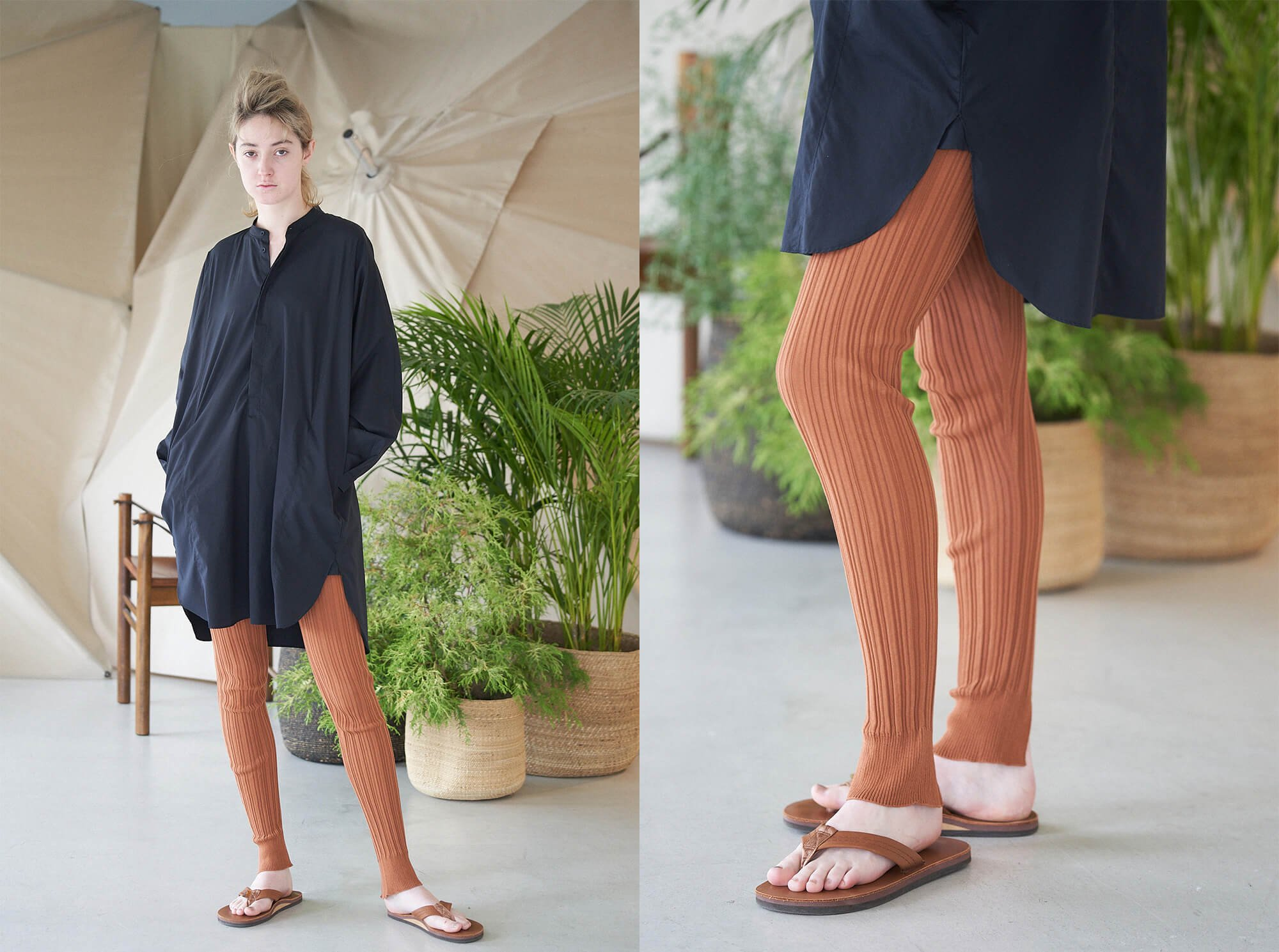<img class='new_mark_img1' src='https://img.shop-pro.jp/img/new/icons14.gif' style='border:none;display:inline;margin:0px;padding:0px;width:auto;' />high twist cotton ribbed-knit leggings
