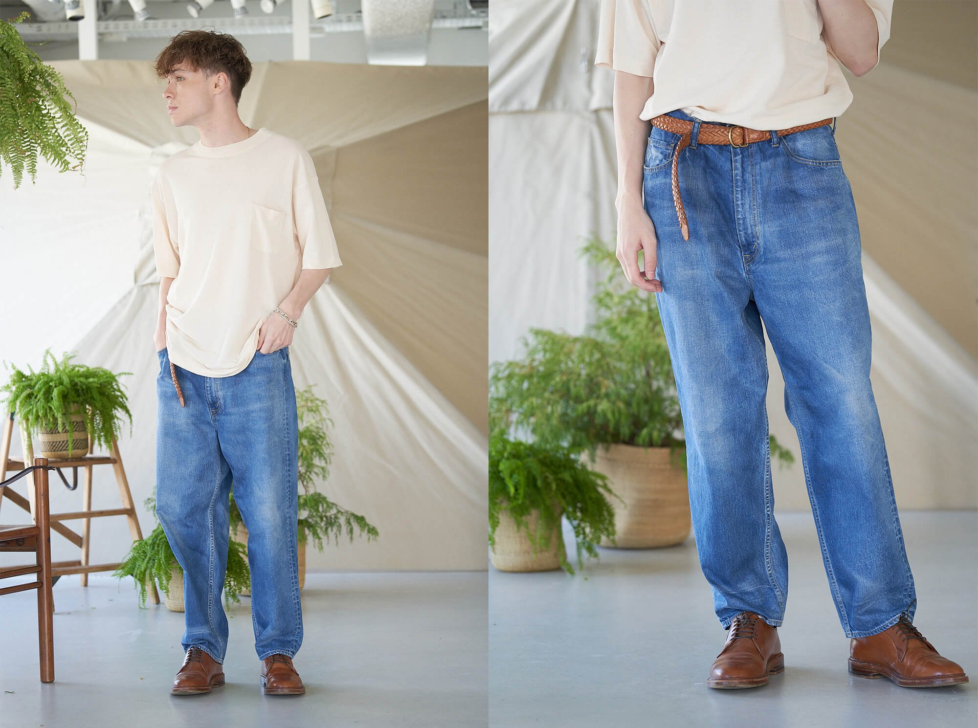 <img class='new_mark_img1' src='https://img.shop-pro.jp/img/new/icons14.gif' style='border:none;display:inline;margin:0px;padding:0px;width:auto;' />12oz cotton denim 5pocket wide tapered pants