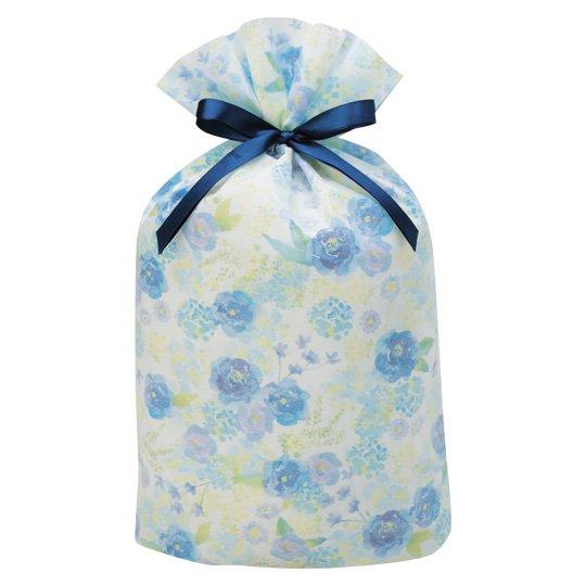 ギフトバッグ 花 ブルー グリタリングフラワー Lサイズ