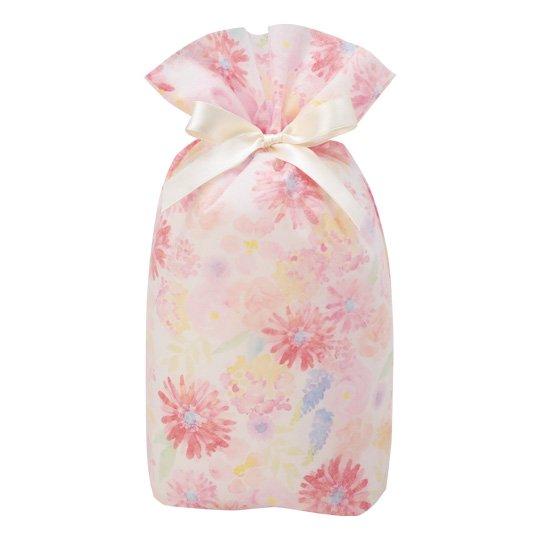 ギフトバッグ 花 ピンク グリタリングフラワー Mサイズ