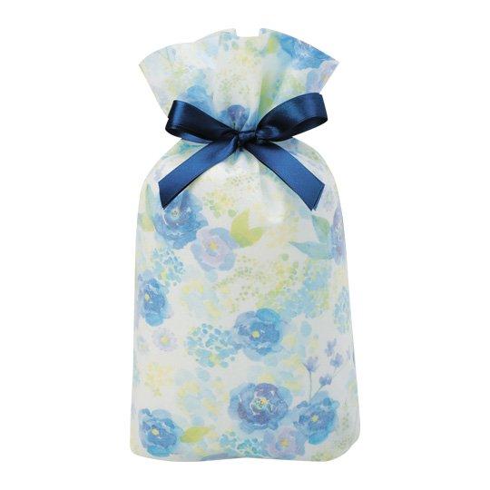 ギフトバッグ 花 ブルー グリタリングフラワー Mサイズ