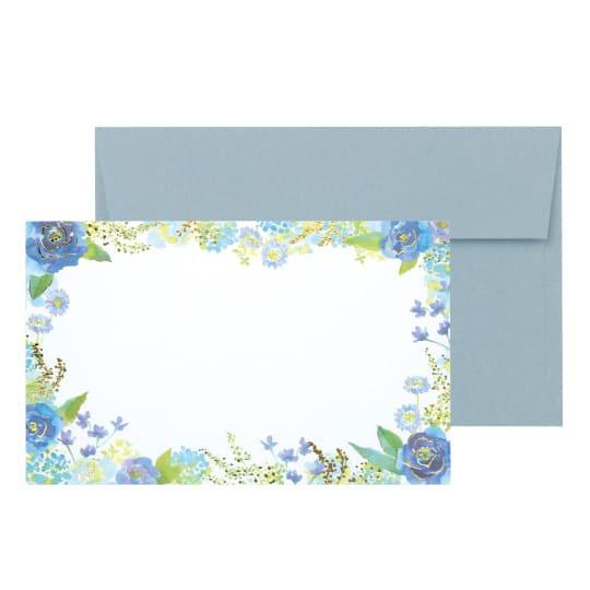 メッセージカード 封筒付き 花 ブルー グリタリングフラワー