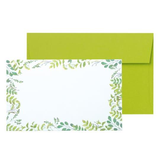 メッセージカード 封筒付き 植物 グリーン グリタリンググリーン