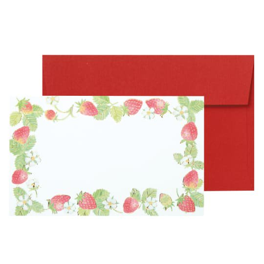 メッセージカード 封筒付き いちご レッド グリタリングベリー