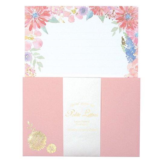 レターセット 花 ピンク グリタリングフラワー
