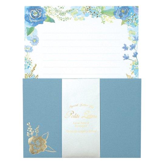 レターセット 花 ブルー グリタリングフラワー