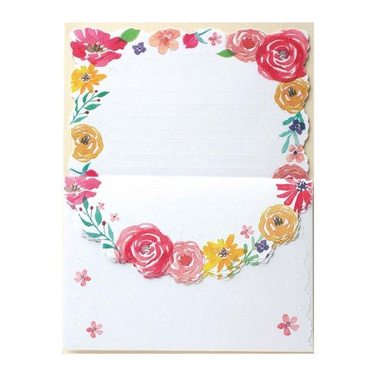 レターセット 花 ピンク ブルーミングガーデン