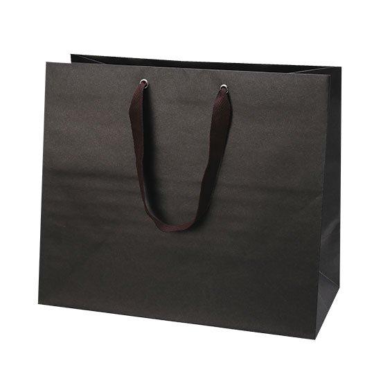 紙袋 ネイビーブラック マットクラフトバッグ マチ広 Lサイズ
