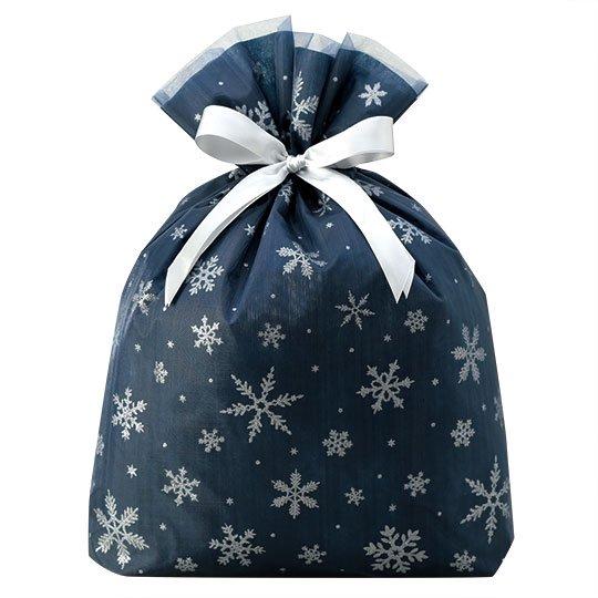 ギフトバッグ 雪の結晶 スパークルスノー ブルー Lサイズ