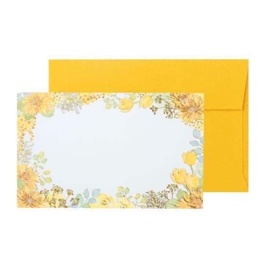 メッセージカード 封筒付き 花 イエロー グリタリングフラワー