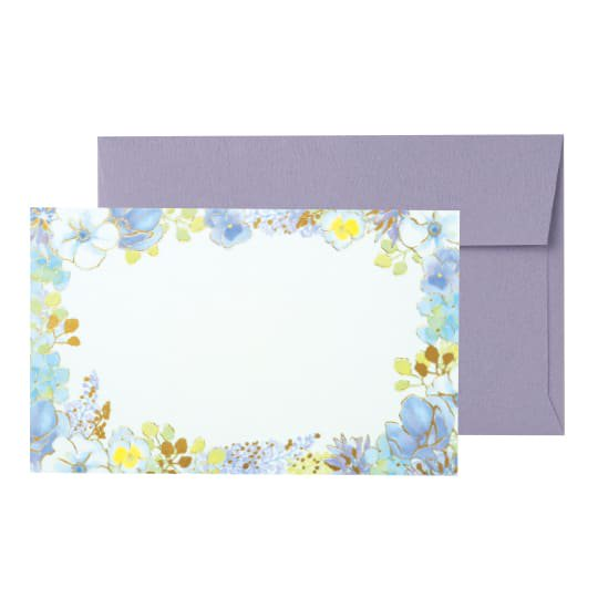 メッセージカード 封筒付き 花 パープル グリタリングフラワー