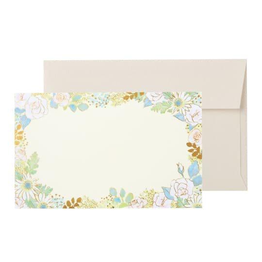 メッセージカード 封筒付き 花 ホワイト グリタリングフラワー