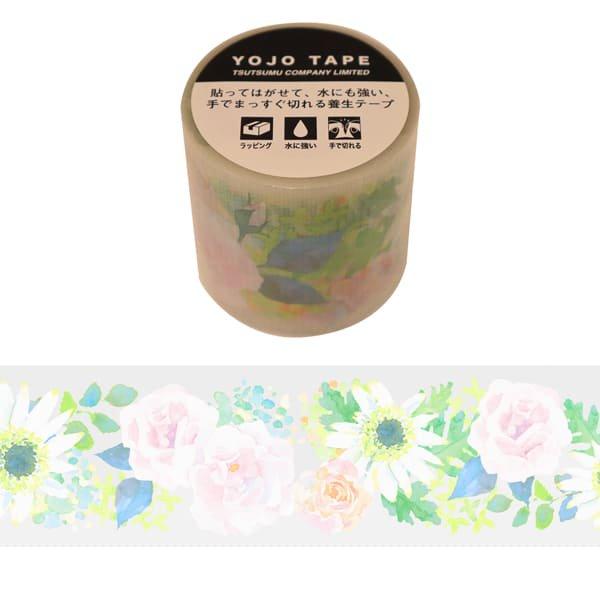 養生テープ 花 ホワイト グリタリングフラワー 45mm