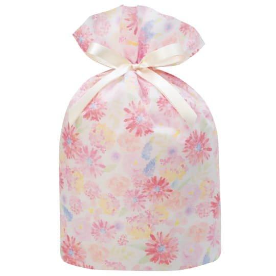 ギフトバッグ 花 ピンク グリタリングフラワー LLサイズ