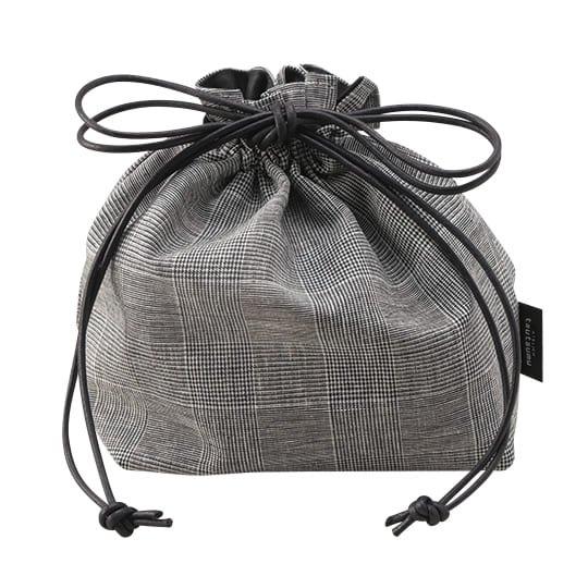 巾着バッグ グレンチェック Lサイズ