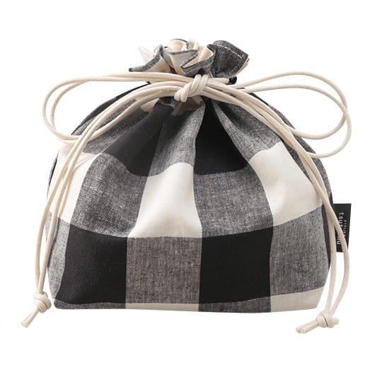 巾着バッグ ブロックチェック Lサイズ