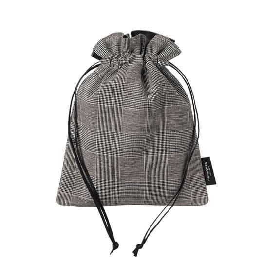 巾着バッグ グレンチェック Sサイズ