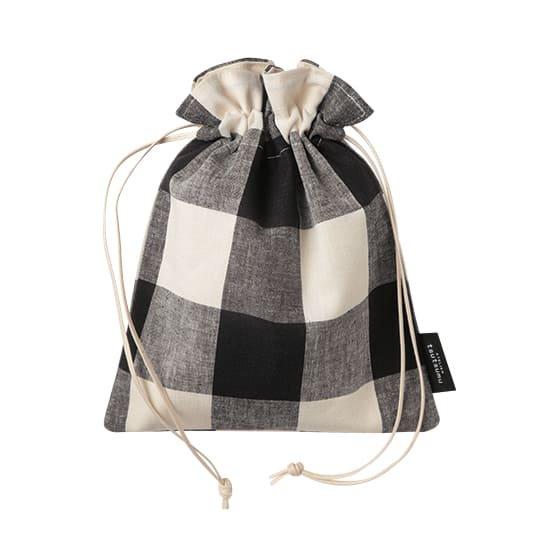 巾着バッグ ブロックチェック Sサイズ