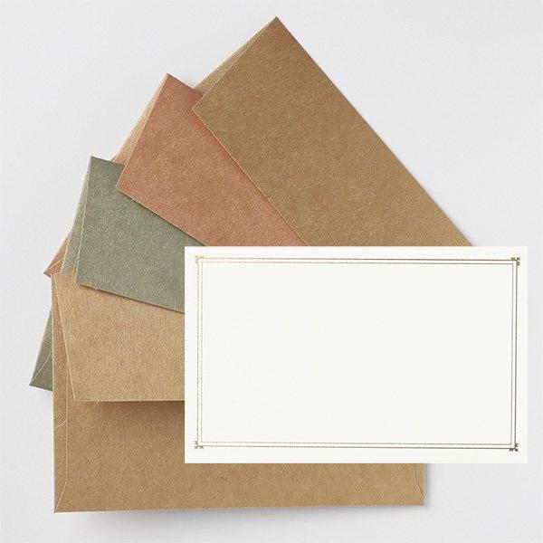 メッセージカード 封筒付き ゴールド ノスタルジックカラー
