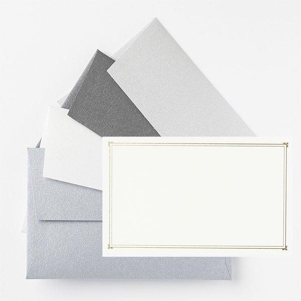 メッセージカード 封筒付き シルバー ノスタルジックカラー