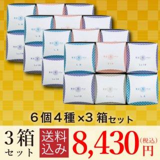 【送料込・大特価】<br>東京専べいニジュウマル6個(4種)×3箱セット