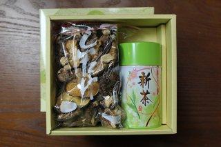お茶(特上茶200g缶)+乾燥しいたけ セット