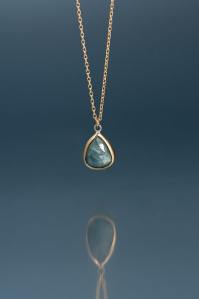 NR49 / Gray  Sapphire Necklace