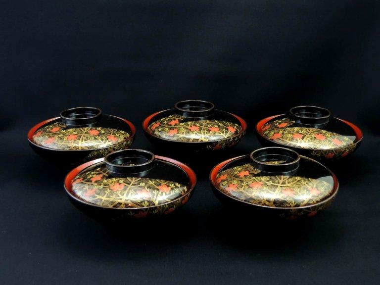 黒塗松梅蒔絵吸物椀 五客組 / Black-Lacquered Soup Bowl Set of 5