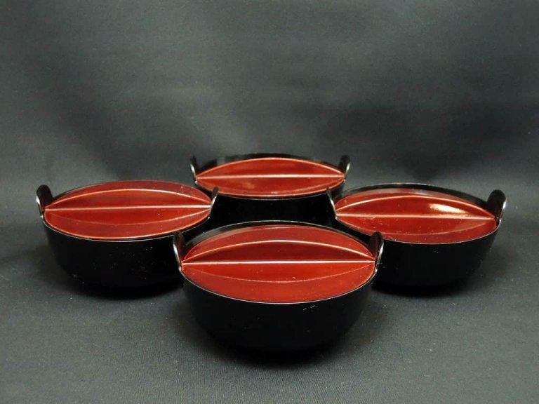 鍋型吸い物椀 四客組 / Lacquered Iron-pot-shaped soup Bowls with Lids  set of 4