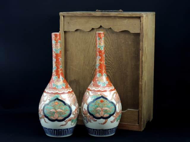 伊万里色絵御神酒徳利 一対 / Imari Polychrome Sake Bottle  1 pair