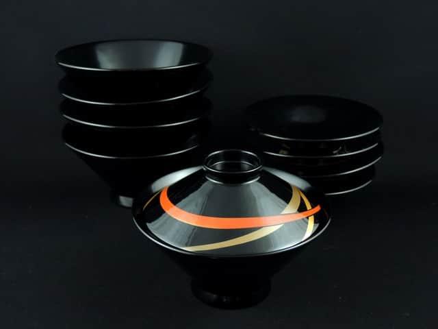 黒塗吸物椀 五客組 / Black-lacquered Soup Bowls with Lids  set of 5