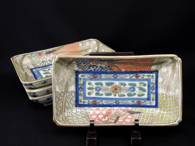 伊万里色絵鳳凰文長皿 四枚組 / Imari Polychrome Rectangular Plates with the picture of Pheonixes  set of 4