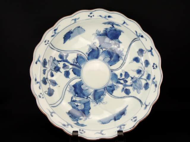 伊万里染付花鳥文尺皿 / Imari Large Blue and White Plate with the picture of Flowers and Birds