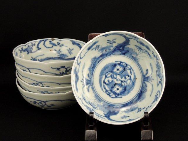 伊万里染付なます皿 五枚組 / Imari Blue & White 'Namasu' Bowls   set of 5