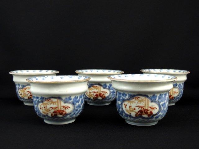 伊万里色絵牡丹唐草窓絵文向付 五客組 / Imari Polychrome 'Mukoduke' Cups  set of 5