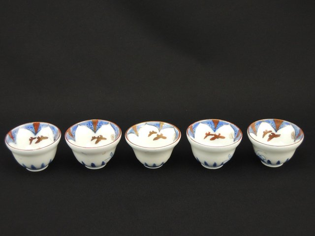 九谷秋草文盃 五客組 / Kutani Sake Cups  set of 5