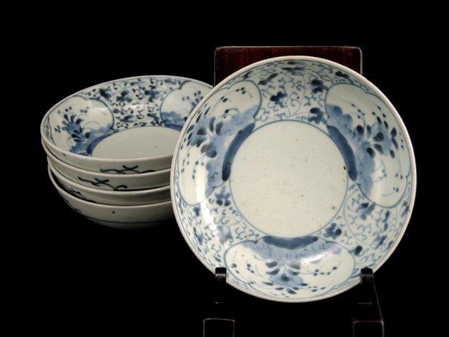 伊万里染付花唐草窓絵文なます皿 五枚組 / Imari Blue & White 'Namasu' Bowls   set of 5
