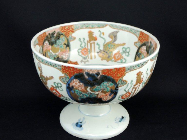 伊万里色絵唐獅子牡丹蝙蝠文大盃洗 / Imari Polychrome Haisen Sake Cup washing Bowl
