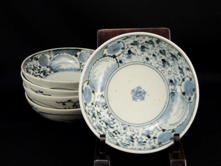 伊万里染付花唐草文なます皿 五枚組 / Imari Blue & White 'Namasu' Bowls with the pattern of 'Hanakarakusa'
